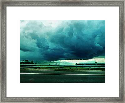 Framed Print featuring the digital art Storm Approaching  by Steve Taylor