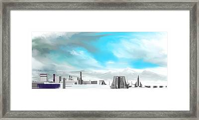 Storm Approachs Strange City Framed Print by David Lane