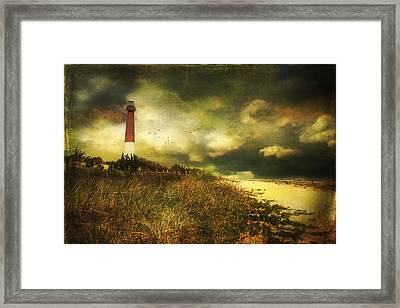 Storm At Barnegat Lighthouse Framed Print