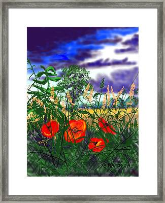 Storm Clouds And Poppies Framed Print