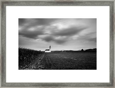 Storm Clouds Gather Over Church Framed Print