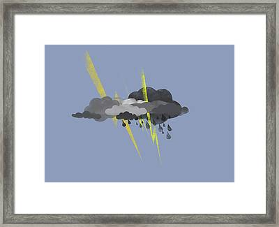 Storm Clouds, Lightning And Rain Framed Print