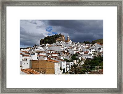 Storm Clouds Over Ardales Spain Framed Print by Mary Machare