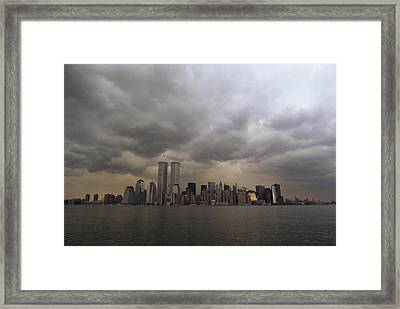 Storm Clouds Over Lower Manhattan Framed Print by Medford Taylor