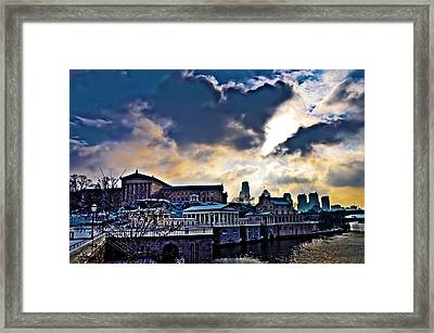 Storm Clouds Over Philadelphia Framed Print by Bill Cannon
