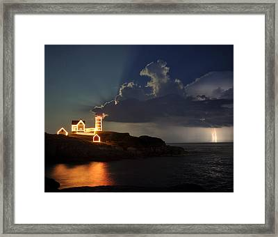 Storm Energizes The Lightning And The Lighthouse Framed Print