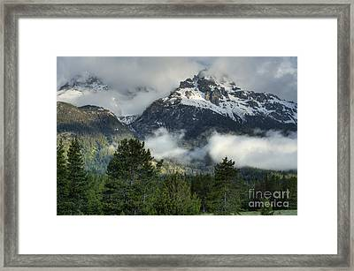 Storm  In The Tetons Framed Print by Sandra Bronstein