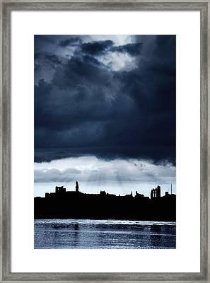 Storm Over City, Tyne And Wear, England Framed Print