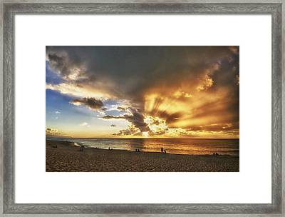 Storm Over Sunset Beach Hawaii Framed Print by Verity Milligan