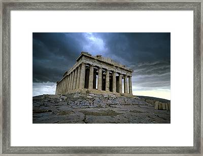 Storm Over The Parthenon Framed Print