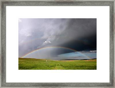 Storm Rainbow Prairie Framed Print by Ryan McGinnis