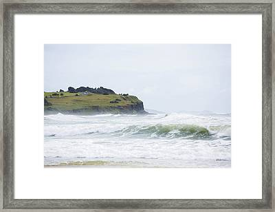 Storm Swell Waves On A Beach Framed Print by David Freund