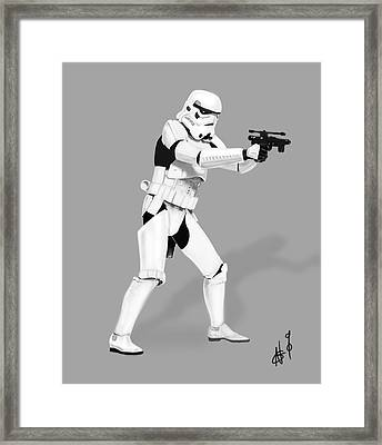 Storm Trooper Digital Drawing Framed Print by Nicholas  Grunas