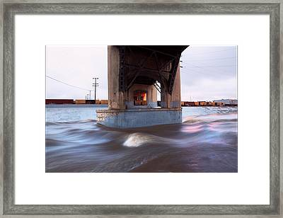 Storm Water Under The Sixth Street Bridge In La Framed Print by Kevin  Break