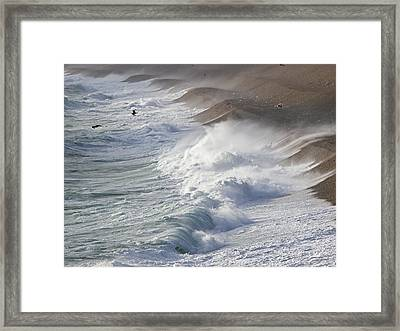 Storm Waves At Chesil Beach Framed Print by Adrian Bicker