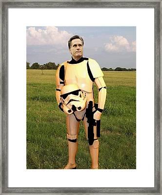 Stormtrooper Mitt Romney Framed Print by Paul Van Scott