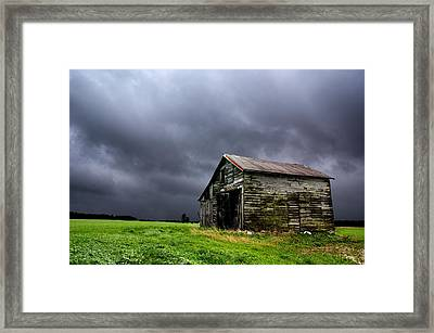 Stormy Barn Framed Print by Cale Best