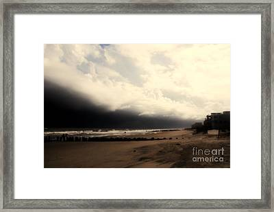 Stormy Beach At The Coast Of South Carolina Framed Print