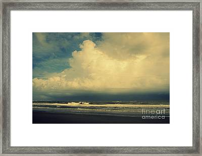 Stormy Clouds At Folly Beach Sc Framed Print