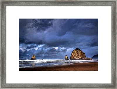 Stormy Clouds In Cannon Beach Framed Print