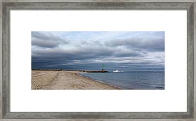 Stormy Evening Bass River Jetty Cape Cod Framed Print by Michelle Wiarda