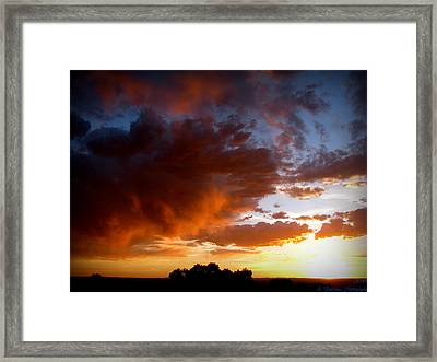 Stormy Sunset Over A Tree Canopy Framed Print by Aaron Burrows