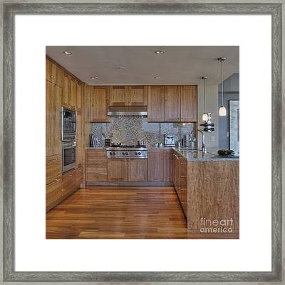 Stove In Luxury Kitchen Framed Print
