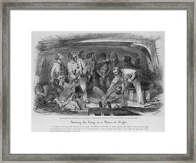 Stowing African Captives In A Slave Framed Print by Everett