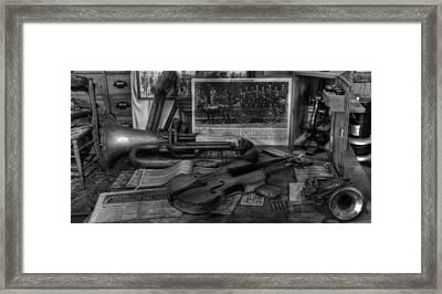 Stradivarius And Trumpet At Rest - Violin - Nostalgia - Vintage - Music -instruments  - II Framed Print