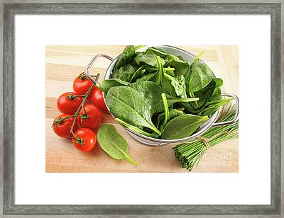 Strainer With Spinach Leaves And Tomatoes Framed Print