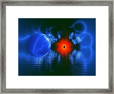 Strange Lights On The Lake Framed Print by Pam Blackstone