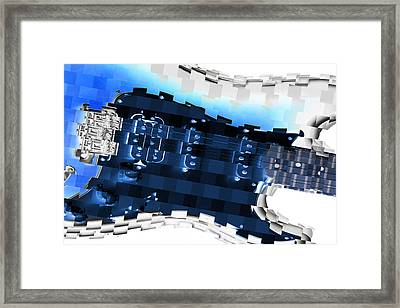 Abstract Guitar In Blue Framed Print by Mike McGlothlen
