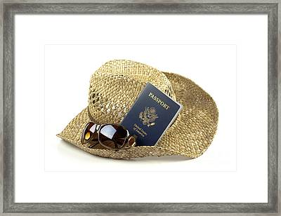 Straw Hat With Glasses And Passport Framed Print by Blink Images