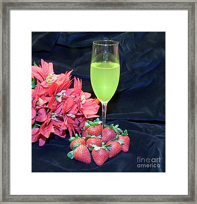 Strawberries And Wine Framed Print by Michael Waters