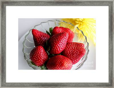 Strawberries And Yellow Mum Framed Print by Barbara Griffin