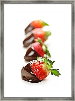 Strawberries Dipped In Chocolate Framed Print by Elena Elisseeva