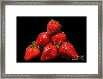 Strawberries On Velvet Framed Print by Andee Design