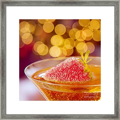 Strawberry And Champagne Framed Print by Kim Fearheiley