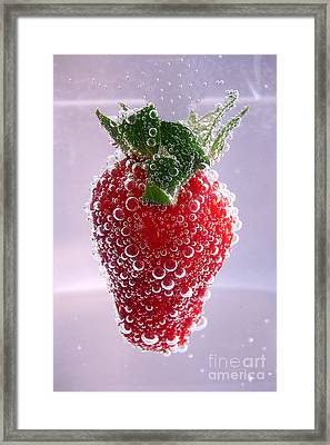 Strawberry In Soda Framed Print