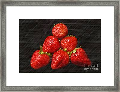 Strawberry Pyramid On Black Framed Print by Andee Design