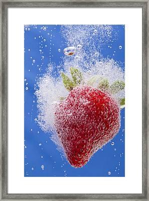 Strawberry Soda Dunk 1 Framed Print by John Brueske