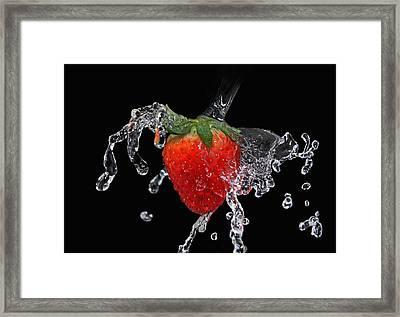 Strawberry-splash Framed Print