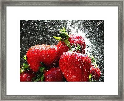 Strawberry Splatter Framed Print by Colin J Williams Photography