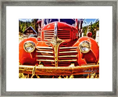 Strawberry Truck Framed Print by Mo T
