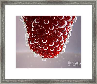 Strawbwrry In Soda Macro Framed Print