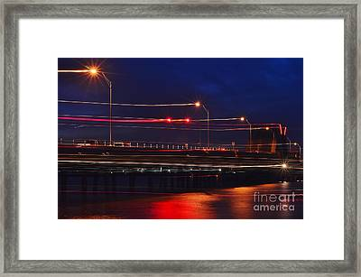 Streaks Of Light At Night Framed Print