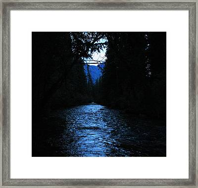 Stream In The Deep Dark Forest Framed Print by Donna Barker