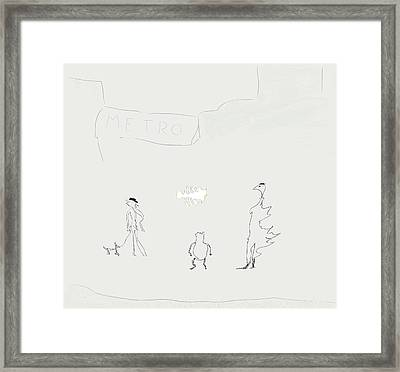 Framed Print featuring the drawing Street Apparition by Kevin McLaughlin