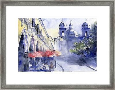 Street Cafe Framed Print by Tania Vasylenko