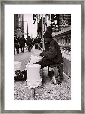 Street Drummer Framed Print by Peter Chilelli